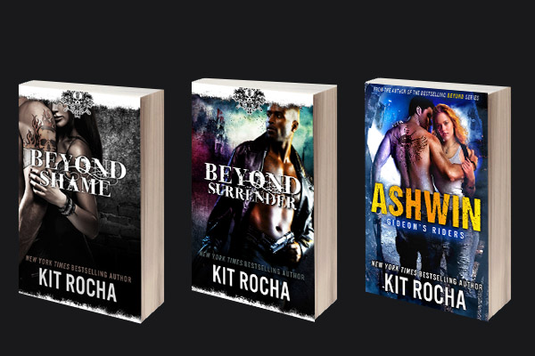 The picture shows the covers of several of Kit Rocha's latest books.