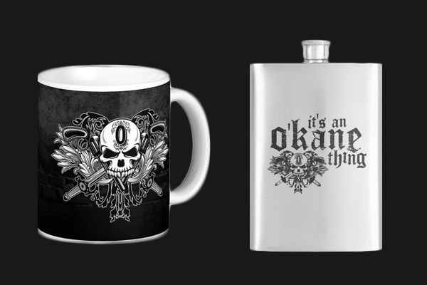 A picture of a mug and a flask