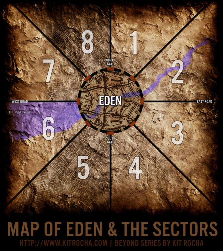 A map showing Eden (a circular city in the center) surrounded by eight sectors. (The sectors are divided by roads leading out of the 8 gates of the city's walls at equal distances.)