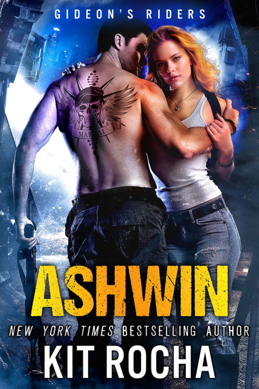 Ashwin's Cover: A man and a woman embracing in front of a ruined dystopian city.