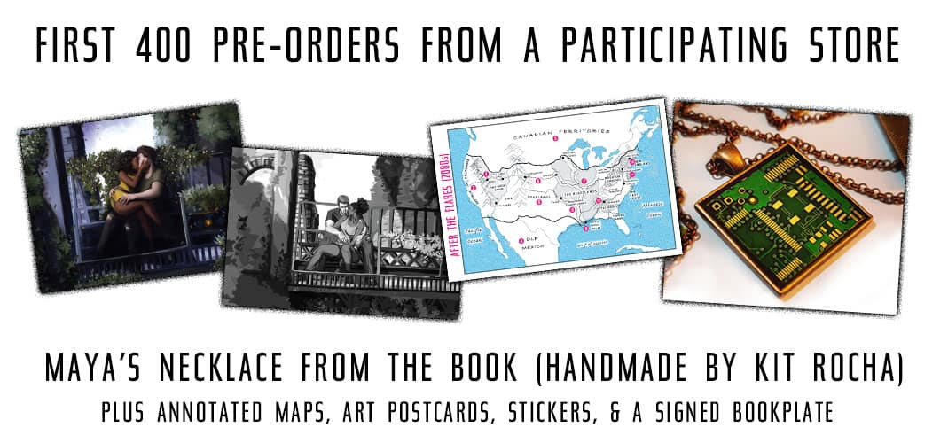 First 400 preorders from a participating store get a handmade necklace from Kit Rocha + signed bookplates, stickers, art prints, and more!