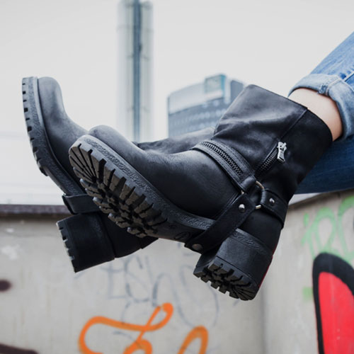 Stylish but clunky black leather boots with a chunky heel.