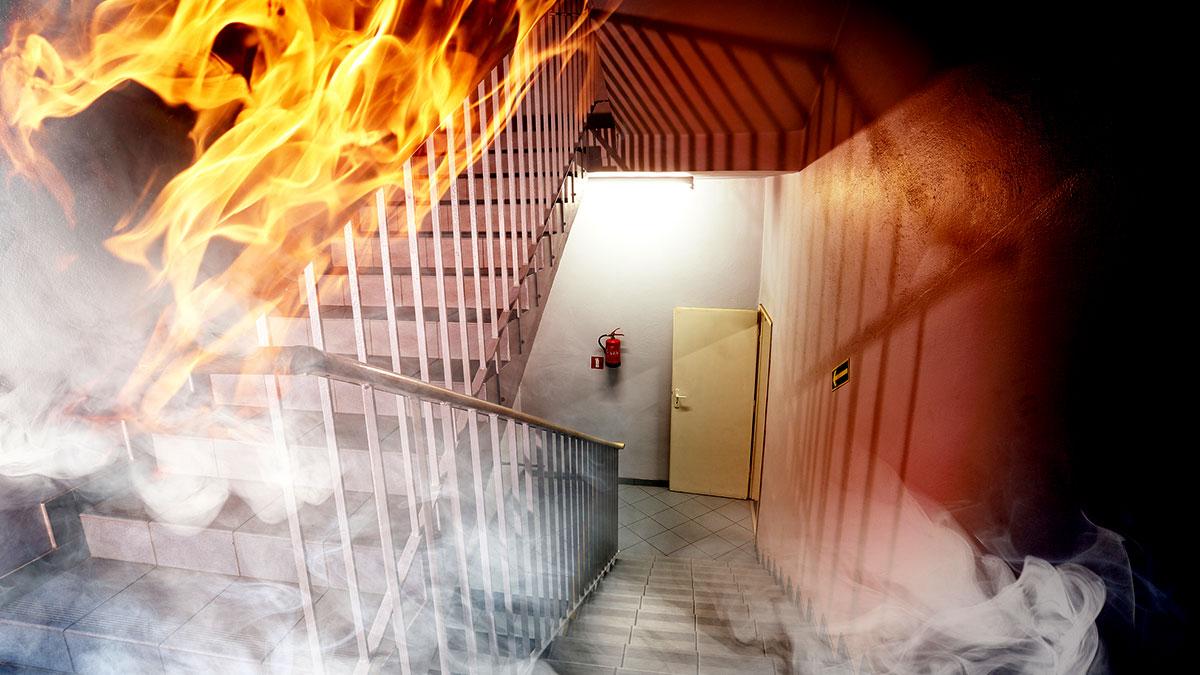 A burning hallway.