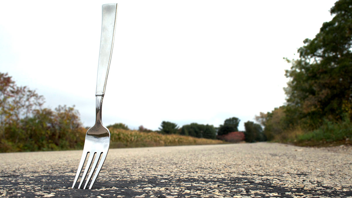A fork stuck in the road.