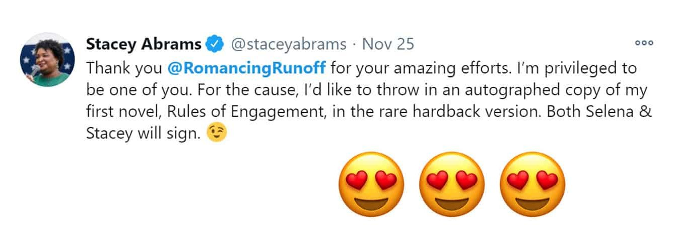 A tweet from stacey Abrams thanking us for our work on Romancing the Runoff and offering us a book to auction off.